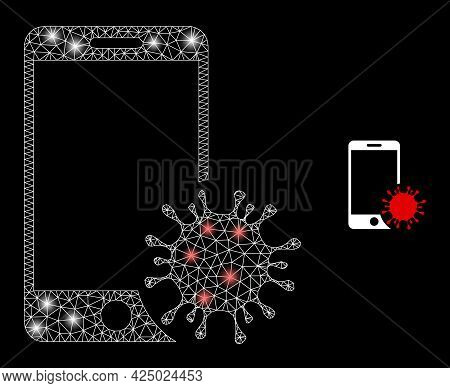 Glamour Mesh Vector Infected Smartphone With Glare Effect. White Mesh, Bright Spots On A Black Backg