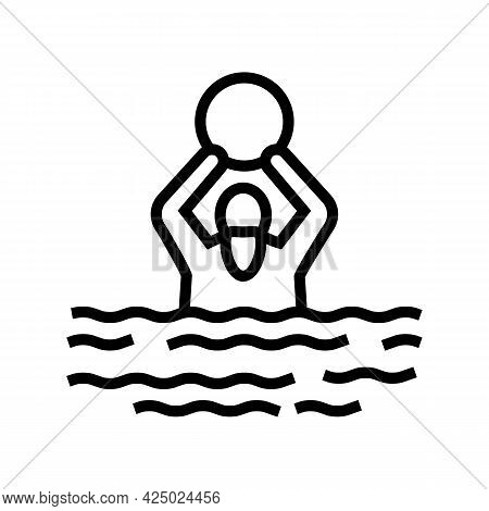 Swimming Exercise For Elderly People Line Icon Vector. Swimming Exercise For Elderly People Sign. Is