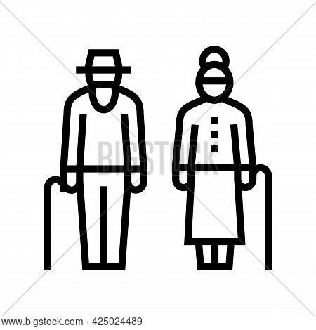 Grandmother And Grandfather Walking Together Line Icon Vector. Grandmother And Grandfather Walking T