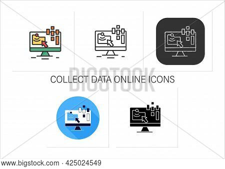 Collect Data Online Icons Set.data Compiling, Account Information Gathering.online Banking Company S