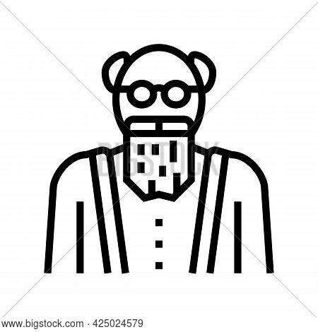 Elderly Man Grandfather Line Icon Vector. Elderly Man Grandfather Sign. Isolated Contour Symbol Blac
