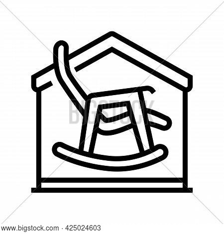 Rocking Chair In House Line Icon Vector. Rocking Chair In House Sign. Isolated Contour Symbol Black