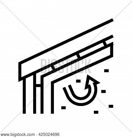 Roof Insulation With Mineral Wool Line Icon Vector. Roof Insulation With Mineral Wool Sign. Isolated