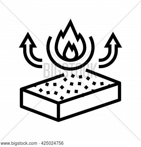 Fire Resistance Mineral Wool Line Icon Vector. Fire Resistance Mineral Wool Sign. Isolated Contour S