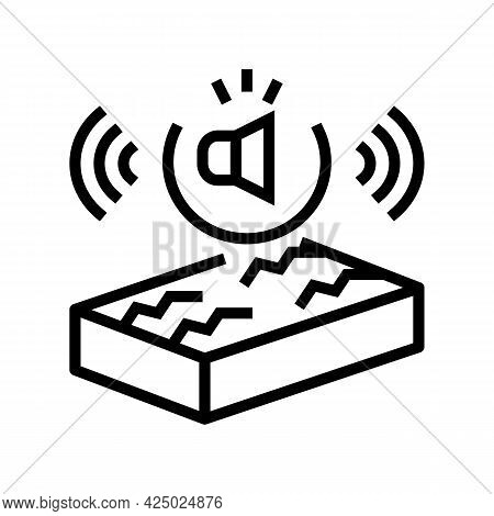 Noise Insulation Properties Line Icon Vector. Noise Insulation Properties Sign. Isolated Contour Sym