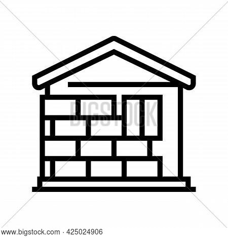 Wall Insulation Outside Mineral Wool Line Icon Vector. Wall Insulation Outside Mineral Wool Sign. Is