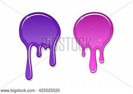 Drip Paint Spot 3d Set Isolated White Background. Pink, Violet Ink Splash. Splatter Stain Texture. D