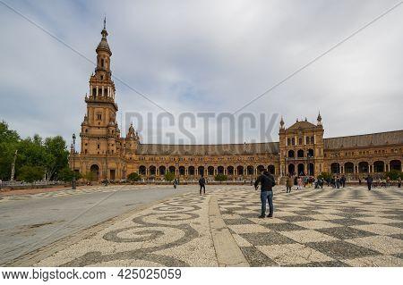 Seville, Spain - 07 April, 2019: The Plaza De Espana (