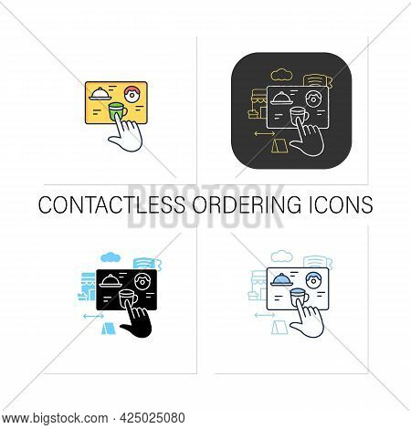 Contactless Ordering Icons Set.ordering Food At Distance.online Order.regulation Through Covid19. Re