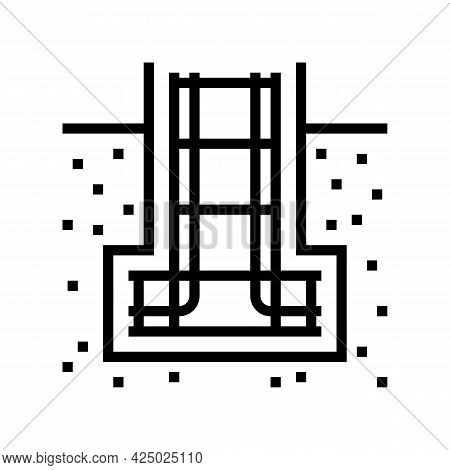 Reinforcement In Foundation Line Icon Vector. Reinforcement In Foundation Sign. Isolated Contour Sym