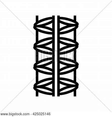 Steel Rebar Line Icon Vector. Steel Rebar Sign. Isolated Contour Symbol Black Illustration