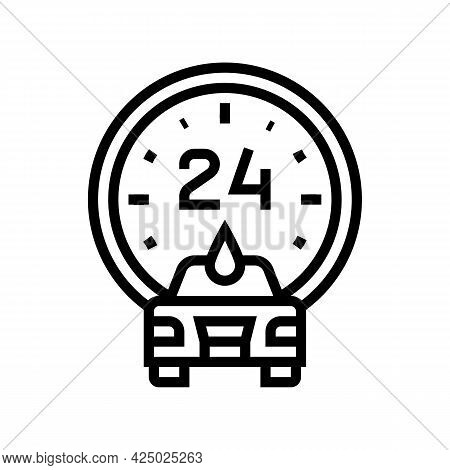 Day And Night Working Car Wash Service Line Icon Vector. Day And Night Working Car Wash Service Sign