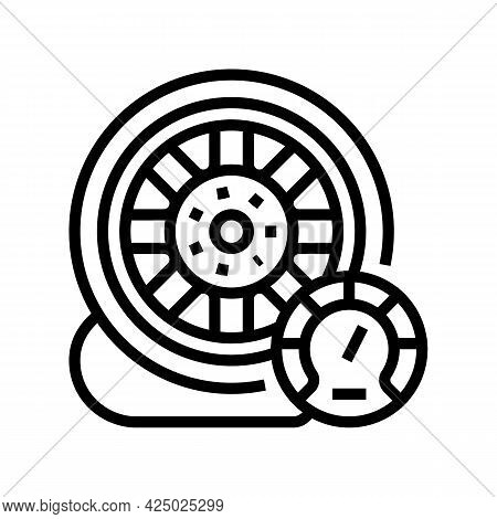 Car Wheel Air Inflating Line Icon Vector. Car Wheel Air Inflating Sign. Isolated Contour Symbol Blac