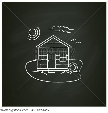 Beach Hut Chalk Icon. Wooden Comfortable House On Beach. Lifebuoy. Seascape. Rest Concept.isolated V