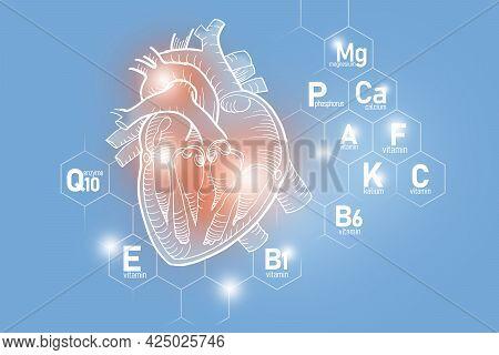 Essential Nutrients For Heart Health Including Q10, Calcium, Magnesium, Vitamin F. Design Set Of Mai