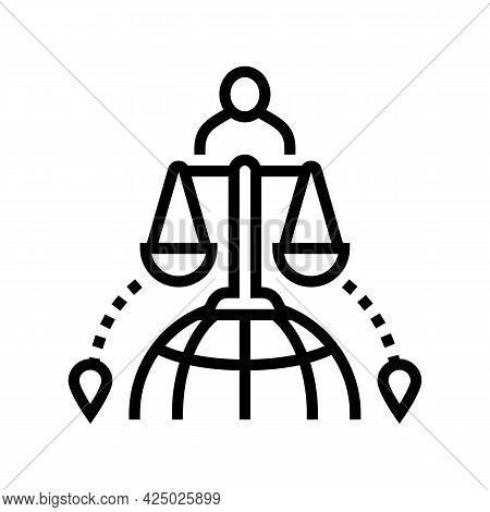 International Adoption Line Icon Vector. International Adoption Sign. Isolated Contour Symbol Black