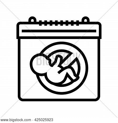 Unplanned Pregnancy Line Icon Vector. Unplanned Pregnancy Sign. Isolated Contour Symbol Black Illust