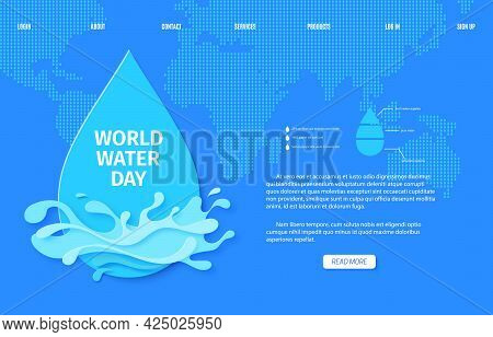 Web Page Save The Water Banner Design Template In Paper Cut Style. Cut Out Drop And Splash On Blue E