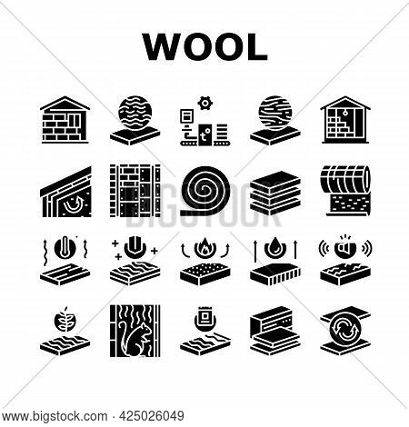 Mineral Wool Material Collection Icons Set Vector. Glass And Basalt Mineral Wool, Thermal And Noise