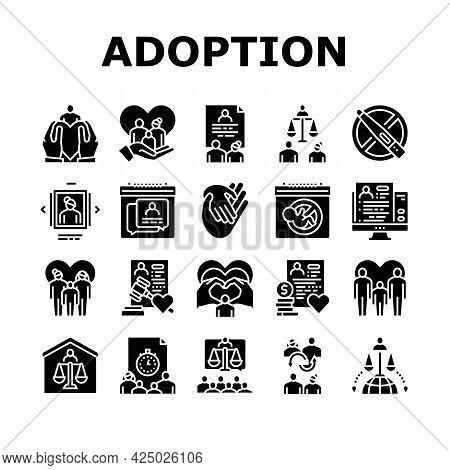 Child Adoption Care Collection Icons Set Vector. Child Adoption Cost And Schedule Consultation, Unpl