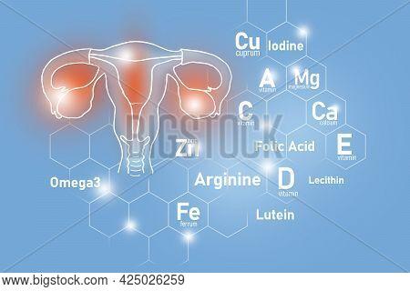 Essential Nutrients For Uterus Health Including Omega 3, Arginine, Lutein, Lecithin. Design Set Of H