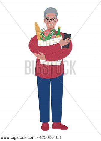 Senior Modern Caucasian Man With Shopping Bag And Mobile Phone.