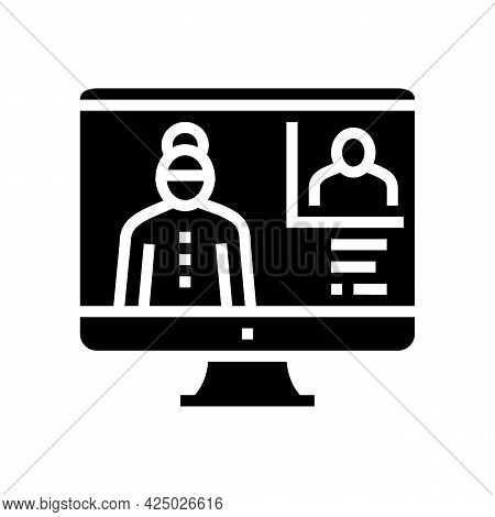 Grandmother Video Call With Grandson Glyph Icon Vector. Grandmother Video Call With Grandson Sign. I