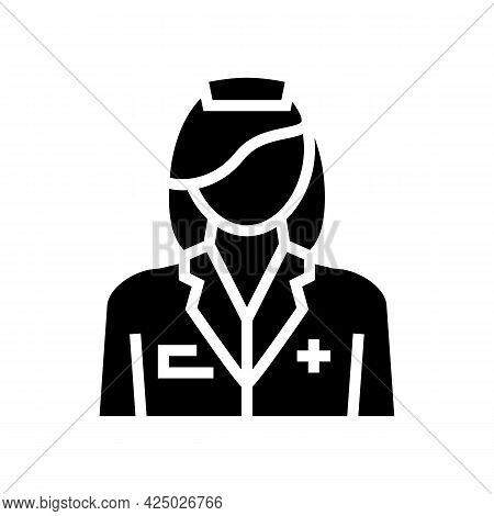 Nursing Home Worker Nurse Glyph Icon Vector. Nursing Home Worker Nurse Sign. Isolated Contour Symbol