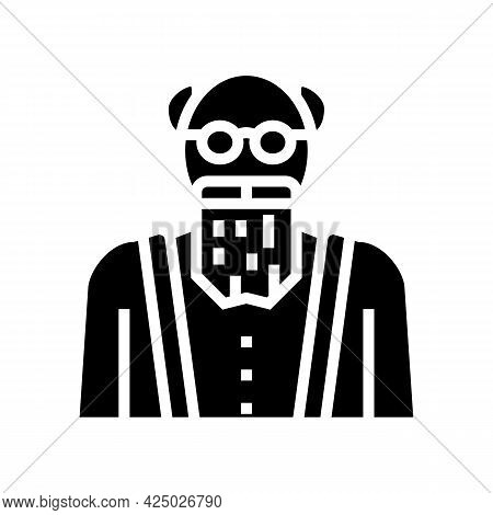 Elderly Man Grandfather Glyph Icon Vector. Elderly Man Grandfather Sign. Isolated Contour Symbol Bla
