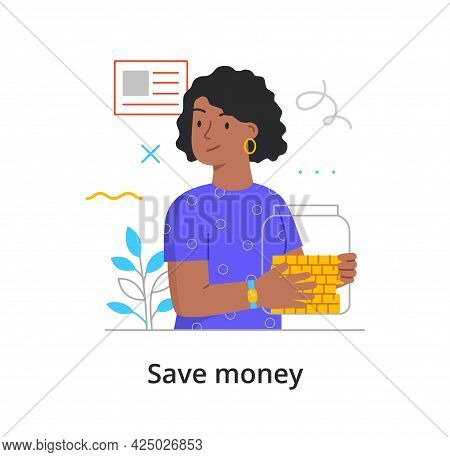 Save Money Concept With Woman Holding Jar With Coins. Poverty And Richness, Spend, Save, Waste Money