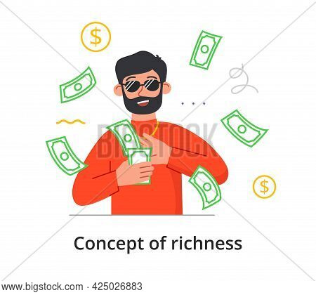 Richness Concept. Young Bearded Man In Glasses Wastes Money. Rich Male Character With Banknotes. Min