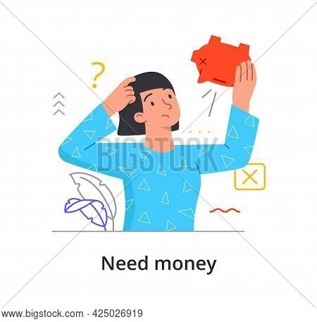 Need Money Concept With A Woman Staring At An Empty Piggy Bank Puzzled. Female Character Is Short Of