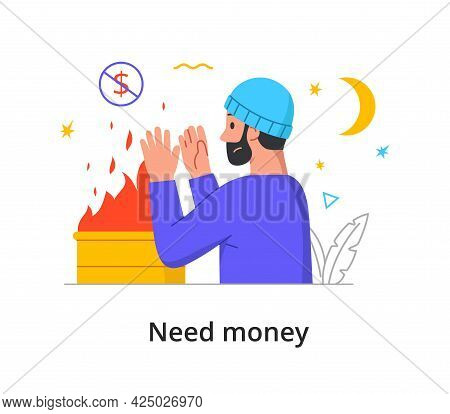 The Concept Of Poverty, Bankruptcy, Need With A Poor Young Bearded Man Warming Himself At Night By T