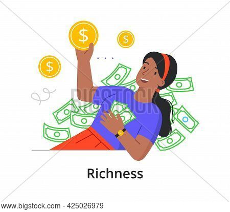 A Young Rich Girl Is Bathed In Money. Abundance, Financial Well-being, Wealth, Inequality Concept. O
