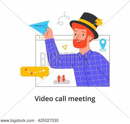 Video Call Concept With With A Bearded Redhead Man In A Hat. Virtual Window Frame, Man Having An Onl
