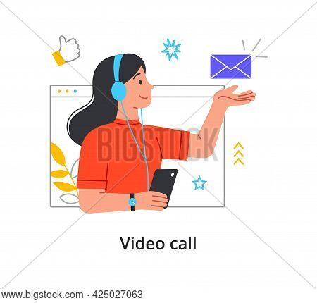 Young Smiling Cute Girl With Headphones Using Video Call And E-mail And Messenger On Her Smartphone.