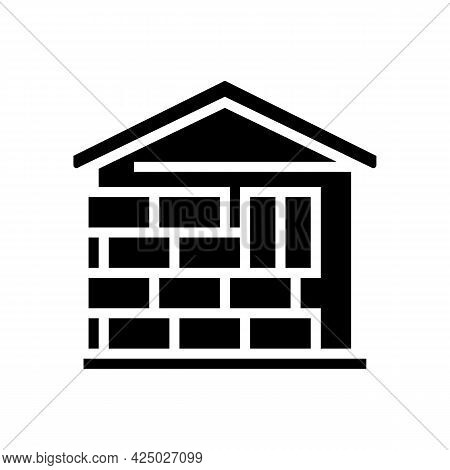 Wall Insulation Outside Mineral Wool Glyph Icon Vector. Wall Insulation Outside Mineral Wool Sign. I