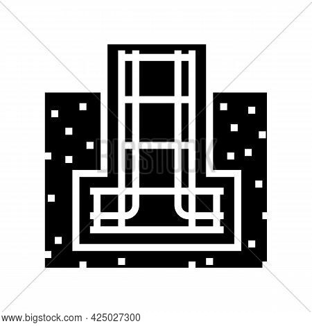 Reinforcement In Foundation Glyph Icon Vector. Reinforcement In Foundation Sign. Isolated Contour Sy