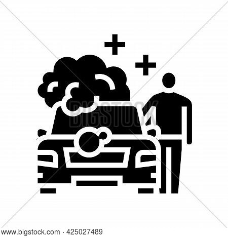 Client Car Wash Glyph Icon Vector. Client Car Wash Sign. Isolated Contour Symbol Black Illustration