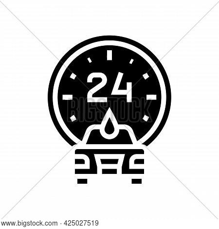 Day And Night Working Car Wash Service Glyph Icon Vector. Day And Night Working Car Wash Service Sig