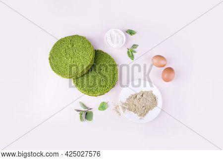 Ingredients For Spinach Cake, Cakes, Eggs, Spinach, Flour, Soda. Products For A Confectionery Desser