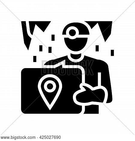 Cave Tourism Glyph Icon Vector. Cave Tourism Sign. Isolated Contour Symbol Black Illustration