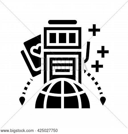 Gambling Tourism Glyph Icon Vector. Gambling Tourism Sign. Isolated Contour Symbol Black Illustratio