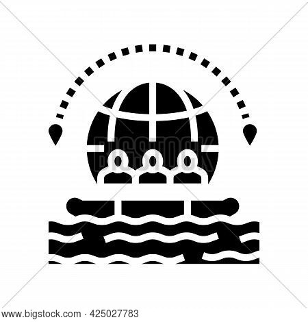 Rafting Tourism Glyph Icon Vector. Rafting Tourism Sign. Isolated Contour Symbol Black Illustration