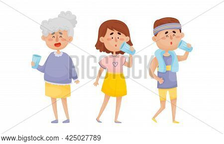 People Character Standing And Drinking Still Mineral Water From Glass Vector Illustration Set