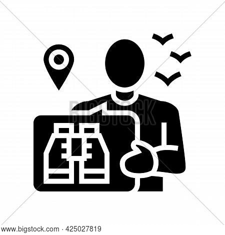 Bird Watching Tourism Glyph Icon Vector. Bird Watching Tourism Sign. Isolated Contour Symbol Black I