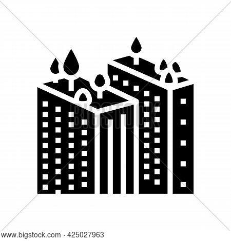 Tree Gardening On Skyscraper Roof Glyph Icon Vector. Tree Gardening On Skyscraper Roof Sign. Isolate