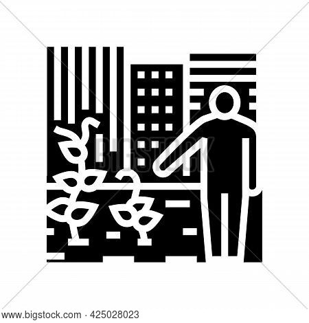 Urban Gardening Human Business Glyph Icon Vector. Urban Gardening Human Business Sign. Isolated Cont
