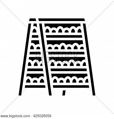 Domestic Plant On Shelves Glyph Icon Vector. Domestic Plant On Shelves Sign. Isolated Contour Symbol