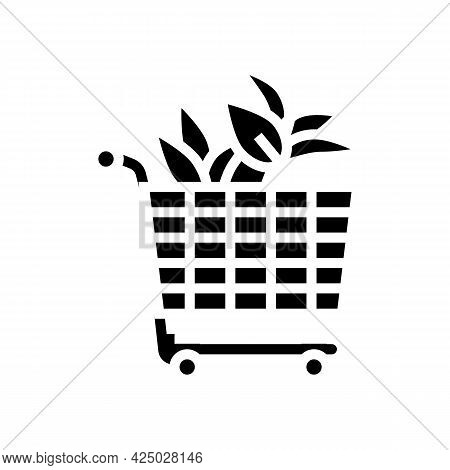 Buying Plant In Floral Store Glyph Icon Vector. Buying Plant In Floral Store Sign. Isolated Contour